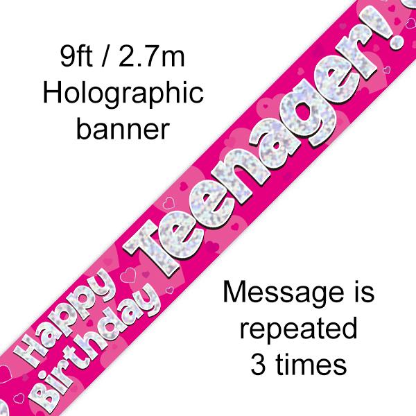 Pink Teenager Birthday Banner