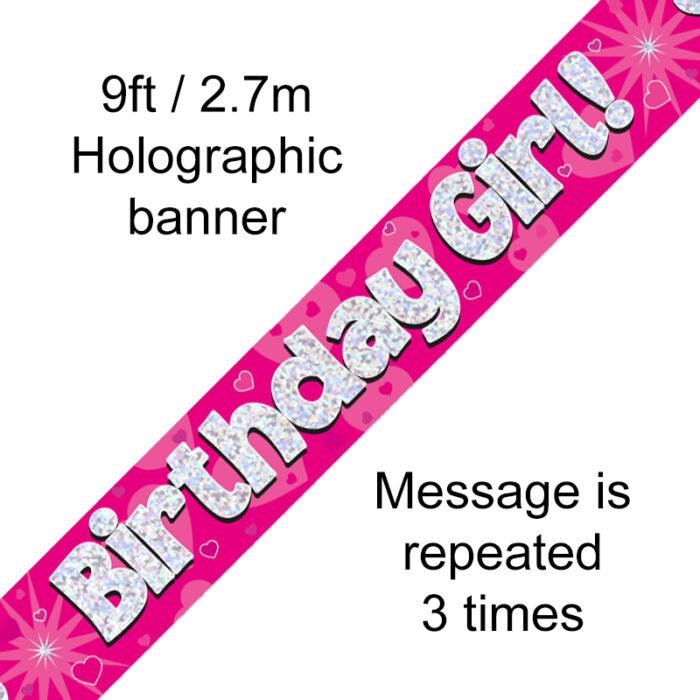 Pink Birthday Girl Banner