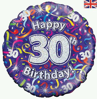 18inch 30th Birthday Streamers Holographic Balloon