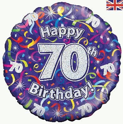 18inch 70th Birthday Streamers Holographic Balloon