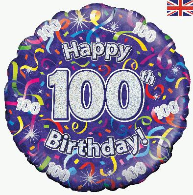 18inch 100th Birthday Streamers Holographic Balloon