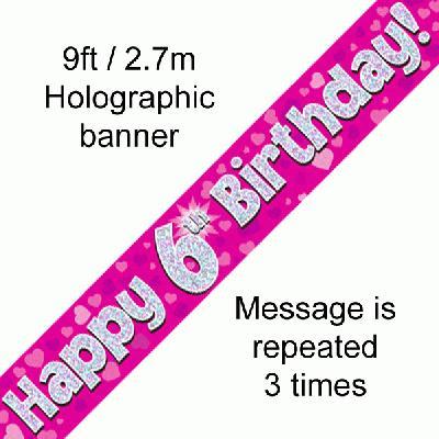 Pink 6th Birthday Banner