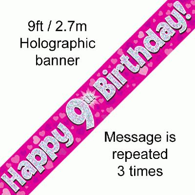 Pink 9th Birthday Banner