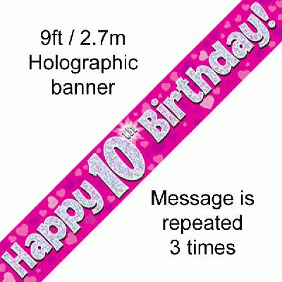 Pink 10th Birthday Banner