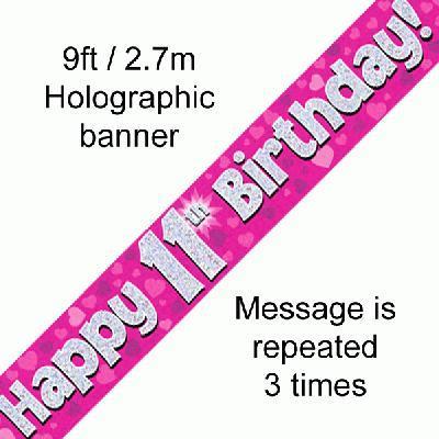 Pink 11th Birthday Banner