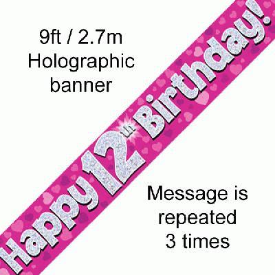 Pink 12th Birthday Banner
