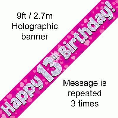 Pink 13th Birthday Banner