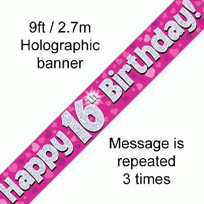 Pink 16th Birthday Banner