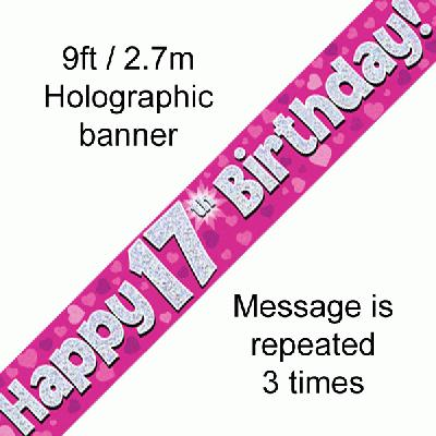Pink 17th Birthday Banner