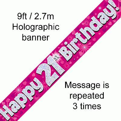 Pink 21st Birthday Banner