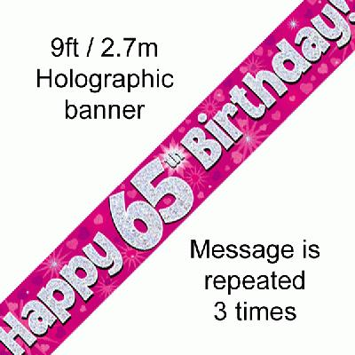 Pink 65th Birthday Banner