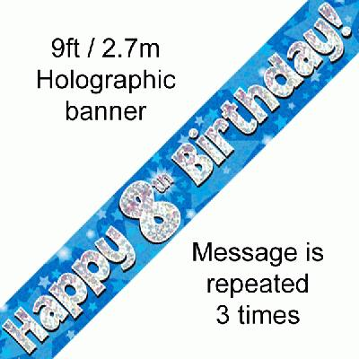 Blue, 8th, Birthday Banner