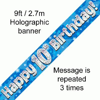 Blue 10th Birthday Banner