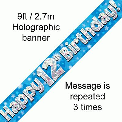 Blue 12th Birthday Banner