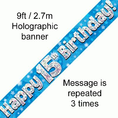 Blue 15th Birthday banner