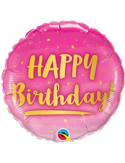 18inch Happy Birthday Gold & Pink Balloon