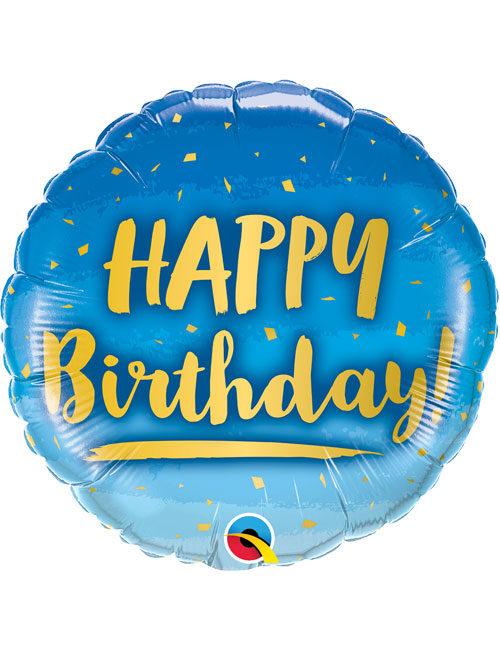 18inch Happy Birthday Gold & Blue Balloon
