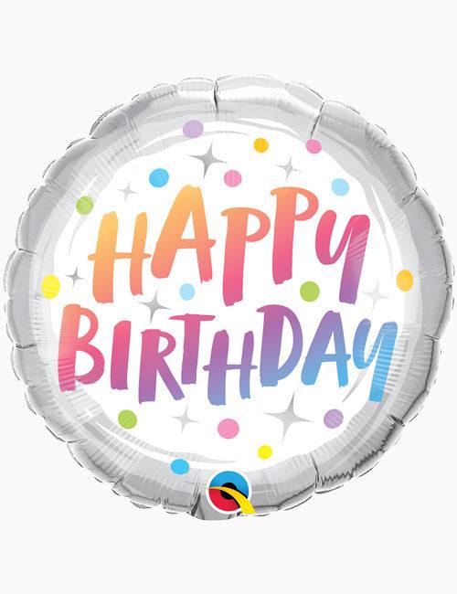 18inch Happy Birthday Rainbow Dots Balloon