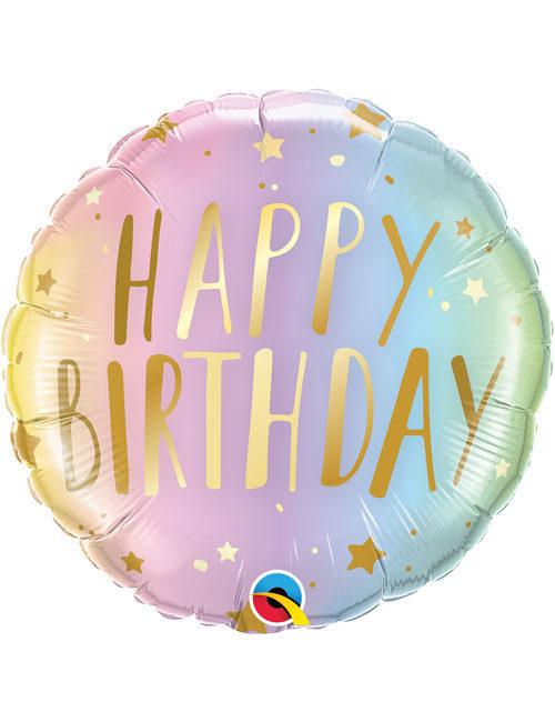 18inch Happy Birthday Pastel Ombre & Stars Balloon