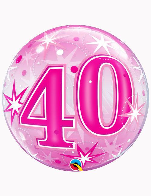 "22"" Bubble 40th Pink Starburst Sparkle"
