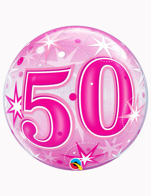 "22"" Bubble 50th Pink Starburst Sparkle"