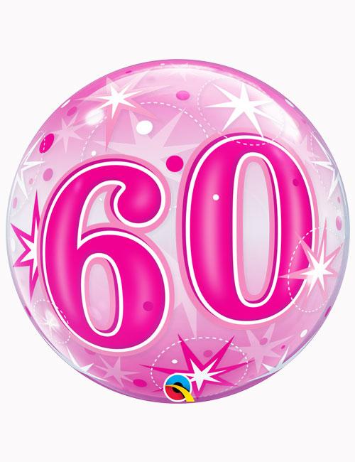 "22"" Bubble 60th Pink Starburst Sparkle"