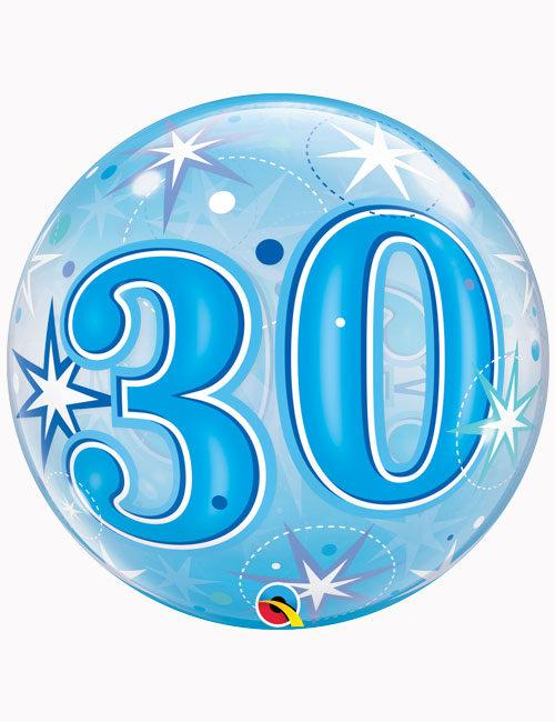 """22"""" Bubble 30th Blue Starburst Sparkle"""