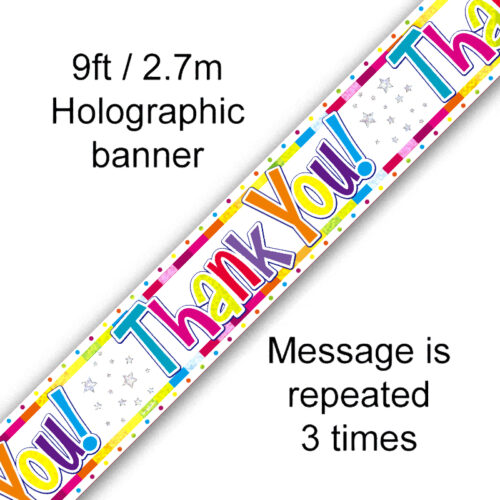 9ft Banner Bright Thank You Holographic