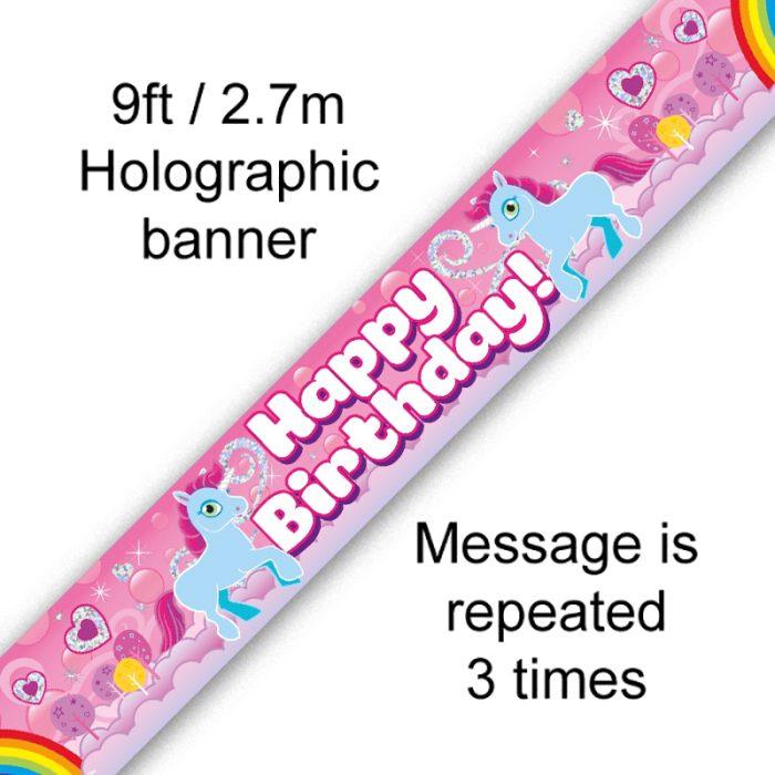 9ft Banner Unicorn Rainbow Birthday