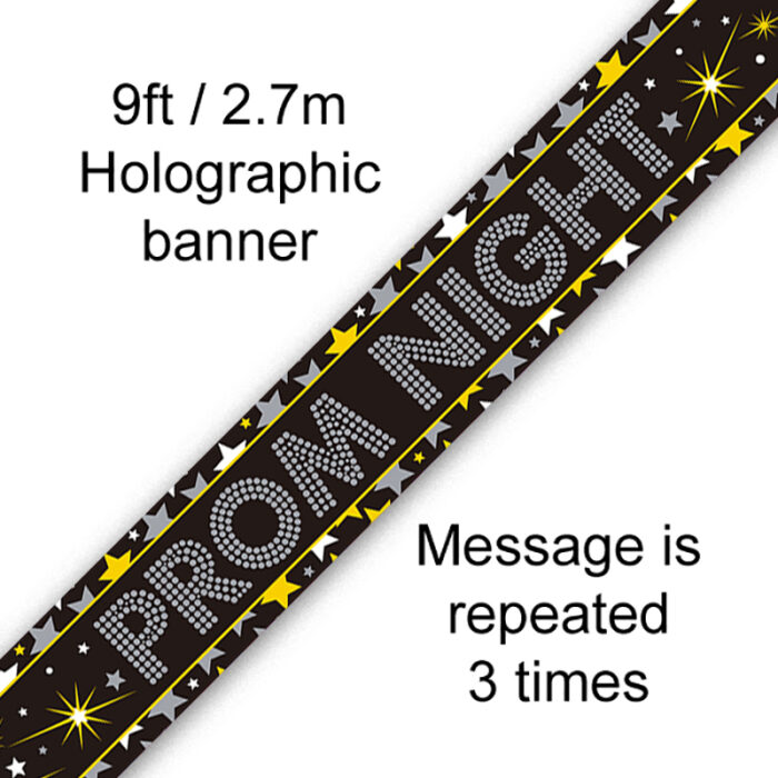 9ft Banner Prom Night Stars Holographic