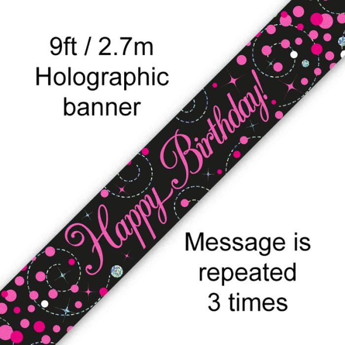 9ft Banner Sparkling Fizz Birthday Black & Pink Holographic