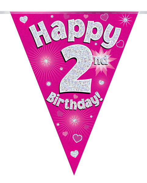 Party Bunting Happy 2nd Birthday Pink Holographic 11 flags 3.9m