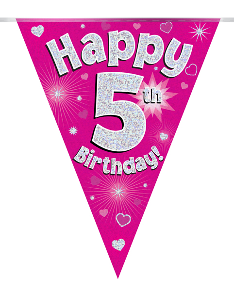 Party Bunting Happy 5th Birthday Pink Holographic 11 flags 3.9m