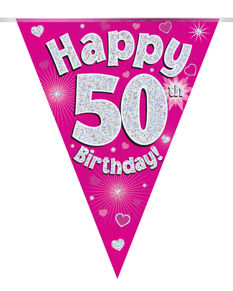 Party Bunting Happy 50th Birthday Pink Holographic 11 flags 3.9m