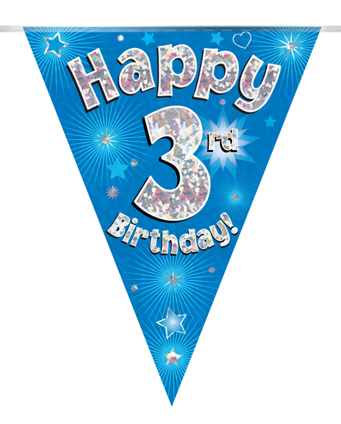 Party Bunting Happy 3rd Birthday Blue Holographic 11 flags 3.9m