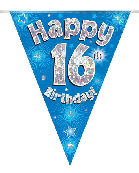 Party Bunting Happy 16th Birthday Blue Holographic 11 flags 3.9m