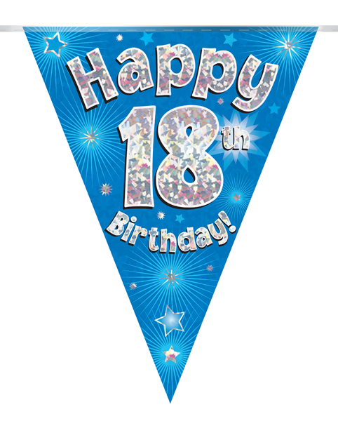 Party Bunting Happy 18th Birthday Blue Holographic 11 flags 3.9m