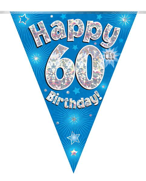 Party Bunting Happy 60th Birthday Blue Holographic 11 flags 3.9m