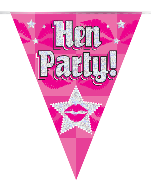 Party Bunting Hen Party Holographic Dot 11 flags 3.9m