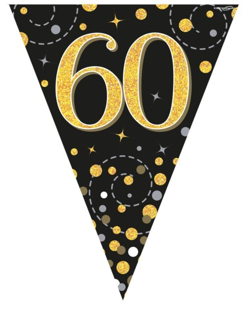 Party Bunting Sparkling Fizz 60 Black & Gold Holographic 11 flags 3.9m