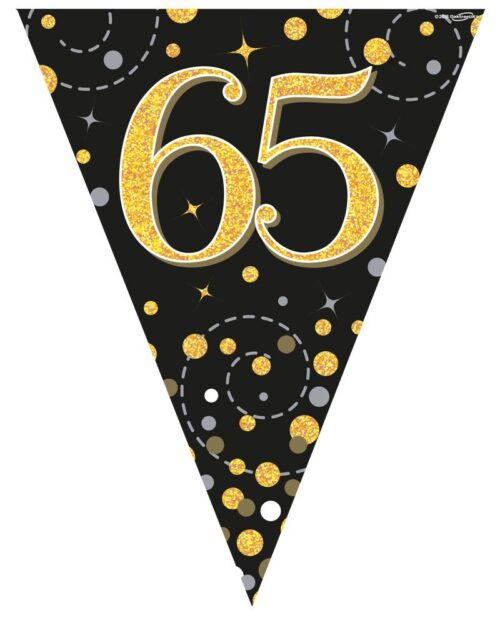 Party Bunting Sparkling Fizz 65 Black & Gold Holographic 11 flags 3.9m