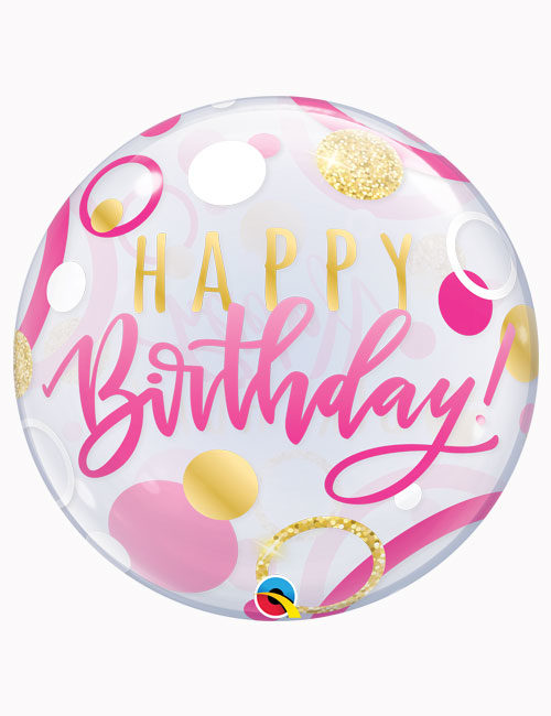 "22"" Bubble Birthday Pink & Gold Dots"