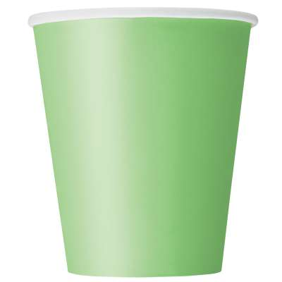 9oz Paper Cups x 8 Lime Green