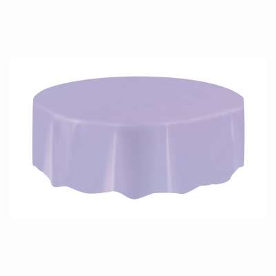 """Solid Round Plastic Table Cover 84"""" Lavender"""