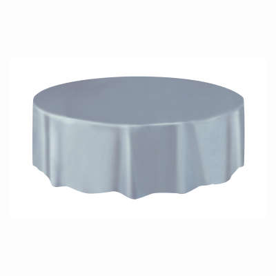 """Solid Round Plastic Table Cover 84"""" Silver"""