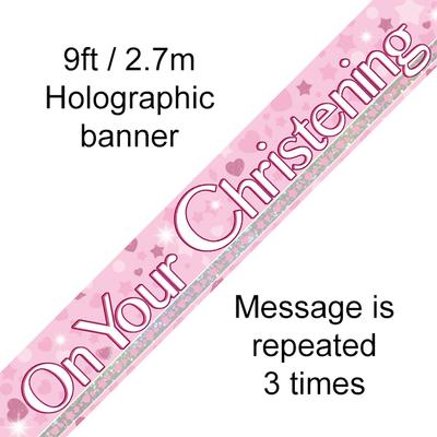 9ft Banner On Your Christening Pink