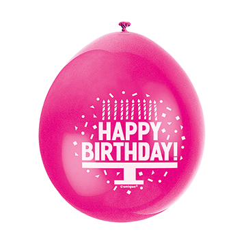 9″ Happy Birthday Assorted Colours Latex Balloons (Pack 10)