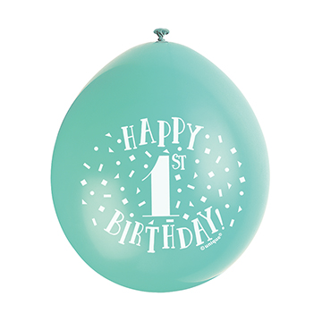 9″ Happy 1st Birthday Assorted Colours Latex Balloons (Pack 10)