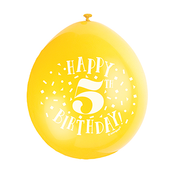 9″ Happy 5th Birthday Assorted Colours Latex Balloons (Pack 10)