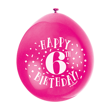 9″ Happy 6th Birthday Assorted Colours Latex Balloons (Pack 10)